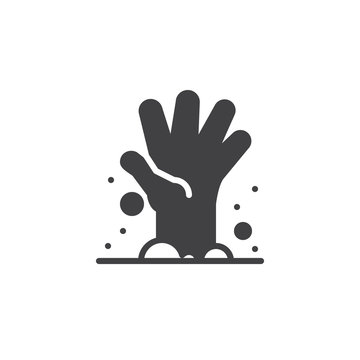 Zombie hand icon vector, filled flat sign, solid pictogram isolated on white. Halloween holiday Symbol, logo illustration.