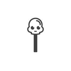 Lollipop in skull shape icon vector, filled flat sign, solid pictogram isolated on white. Halloween holiday Symbol, logo illustration.