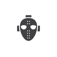Hockey mask icon vector, filled flat sign, solid pictogram isolated on white. Halloween holiday Symbol, logo illustration.