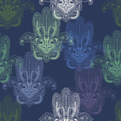 Seamless abstract paisley pattern with stylized lace hamsa symbols. Traditional oriental ethnic ornament, pastel hues. Yoga texture. Textile design.