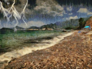 Flashes of lightning in the sky above the mountains. Thunderstorm in the sea. Modern hand drawn artwork.