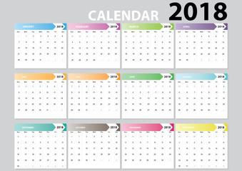 Set desk calendar 2018 design set of 12 months. flat design vector illustration.