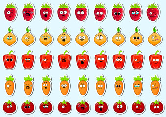 Cartoon vegetables cute character face isolated vector illustration. Funny vegetable face icon collection. Cartoon face food emoji. Pepper, carrot, tomato, onion and strawberry emoticon.