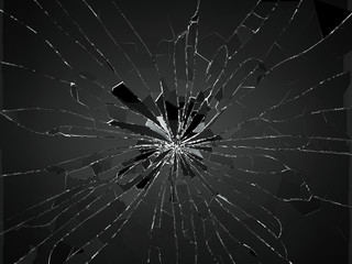 Bullet hole Cracked and Shattered glass on white