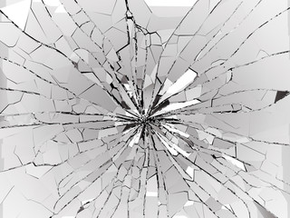 Obraz Bullet hole and pieces of shattered or smashed glass - fototapety do salonu