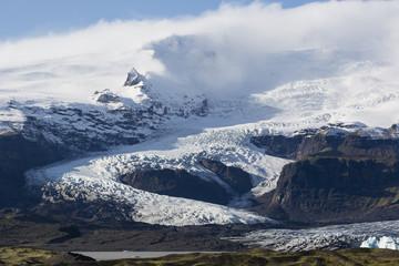The sunset over the Iceland's largest glacier Vatnajokull.