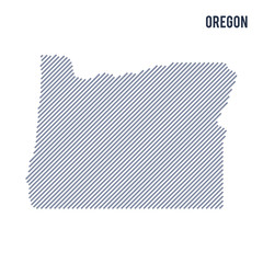 Vector abstract hatched map of State of Oregon with oblique lines isolated on a white background.
