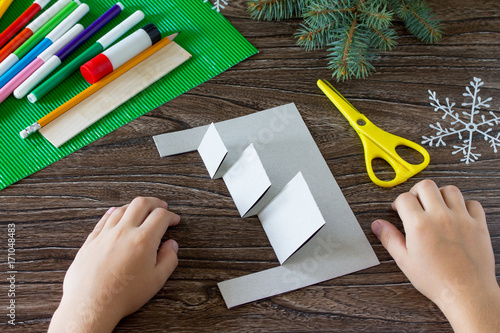 The Child Adds A Birthday Card With Christmas Presents Made By Own Hands Childrens