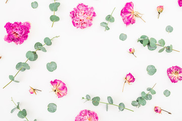 Floral frame with pink roses and eucalyptus leaves isolated on white background, Flat lay, Top view