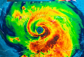 Geocolor Image in the eye of Hurricane Irma. Elements of this image furnished by NASA.