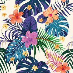 Abstract color tropical pattern seamless light background