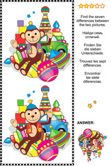 Picture riddle or visual puzzle: Find the seven differences between the two pictures with classic toys set - monkey, car, balls, bowling pins, spinning top, stacked rings, blocks. Answer included.