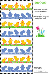 Visual puzzle or picture riddle: Match the pictures of chicks rows to their shadows. Answer included.