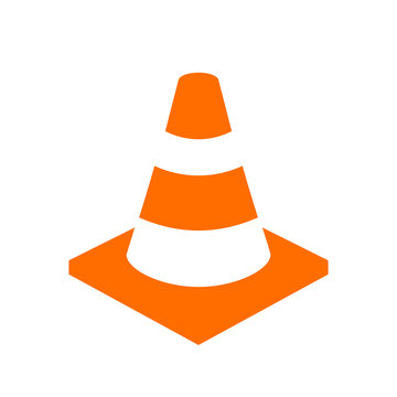 Orange safety cone vector icon