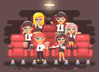 Vector illustration cartoon characters children, classmates, pupils, schoolboys, schoolgirls, boys, girls sitting in armchairs, cinema hall, eat popcorn, watching movie in 3d glasses flat style