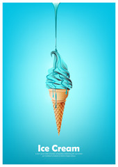 Blue soft ice cream cone, Pour chocolate syrup, peppermint flavor, Vector illustration