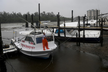 Local fisherman P.J. Pike prepares for the hurricane Irma in Fort Myers Beach