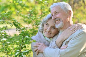 senior couple under blooming tree