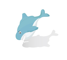 cartoon funny blue shark going down isolated