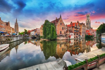 Photo sur Toile Bruges Bruges at dramatic sunset, Belgium