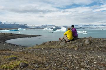Watching icebergs from Vatnajökull Glacier float by at Jokulsarlon