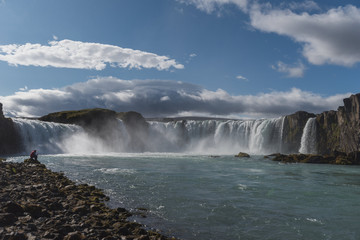Godafoss in Iceland on a sunny day