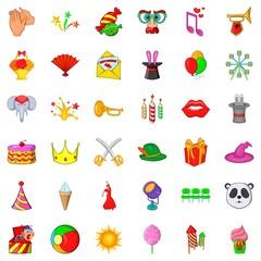 Carnival icons set, cartoon style