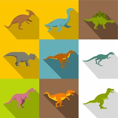 Different dinosaurs icon set, flat style