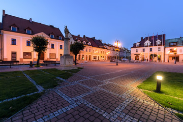 Centre of Zory after sunset. Poland