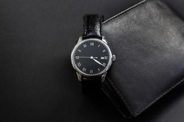 Close-Up of a Luxury Black Wristwratch
