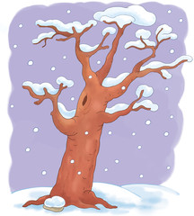 Four seasons.  A winter tree.  Coloring page. Illustration for children