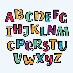 Hand drawn marker colorful uppercase alphabet. Kid style drawing font and signs.