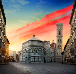 Aluminium Prints Florence Sunrise and cathedral