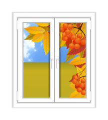 Window plastic with a landscape autumn view, branch of rowan. Fall. Illustration over white background. Vector