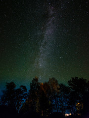 The Milky Way in night sky with stars and some trees.