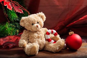 Christmas decoration and teddy bear