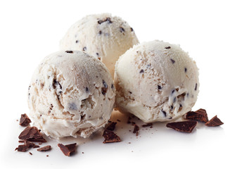 Three Italian Stracciatella ice cream balls