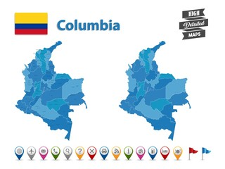 Columbia- High Detailed Map With GPS Icon Collection