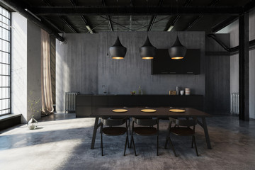 Modernes Esszimmer mit Design Küche in Loft