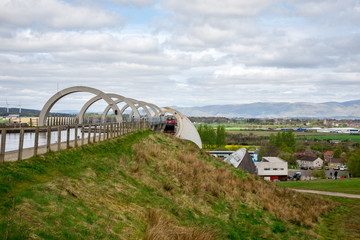 A view of Falkirk Wheel boat lift and canal