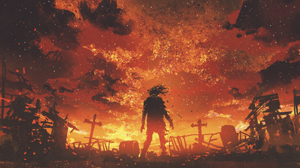 Wall Murals Grandfailure zombie walking in the burnt cemetery with burning sky, digital art style, illustration painting