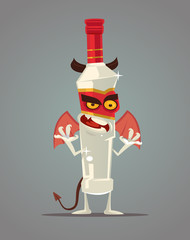 Angry alcohol monster character bottle of vodka. Vector flat cartoon illustration