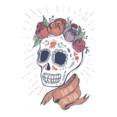 Hand-drawn poster to the Day of the dead party. Dea de los muertos card.