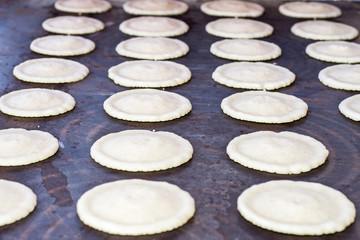 dough of katayef dessert preparing in Ramadan