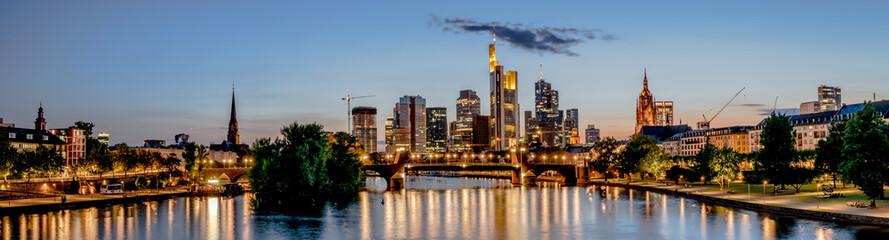 Panoramic of Frankfurt at Main skyline at night. Financial center of Germany.
