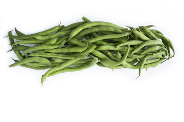 Fresh green beans isolated on white background. Green beans with copy space for text.