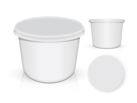 White plastic glass for your design and logo. It's easy to change colors. Mock Up.
