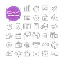 Outline icon set. Vector pictogram set. Marketing