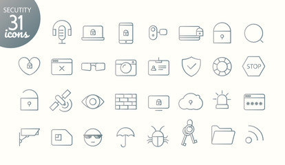 Modern media web and mobile app thin line icons collection. Outline icon set. Security