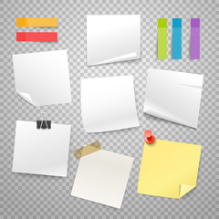 Many blank paper stickers vector collection. Advertising mockup isolated on transparent. Place any text on it